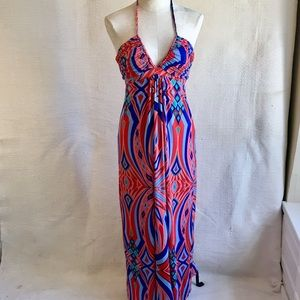 Anthro Tbags LA Aztec Print Halter Maxi Dress